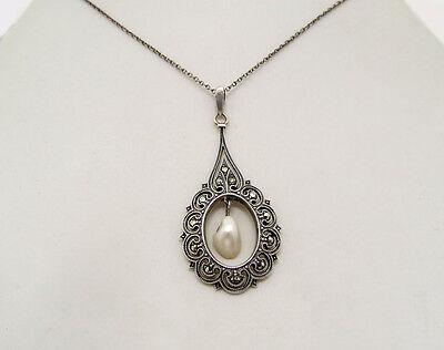 Art Deco Silber Anhänger ° Markasiten ° Perlmutt ° Collier ° um 1925 /30 °
