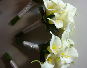 4 Small Bridesmaids Calla Lily Wedding Bouquet Of Flowers. London Ontario image 3