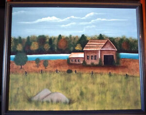 "Original Folk Art Oil Painting ""Autumn Farmland by the River"""