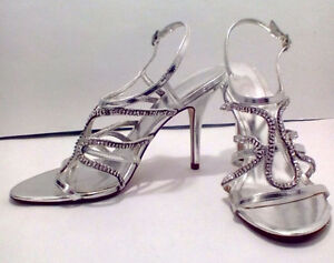 ALDO:  Rhinestoned Silver Fancy Dress Shoes