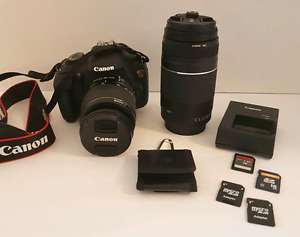 CANON EOS REBEL T5 w/2 Lenses & Backpack Carry Case see details