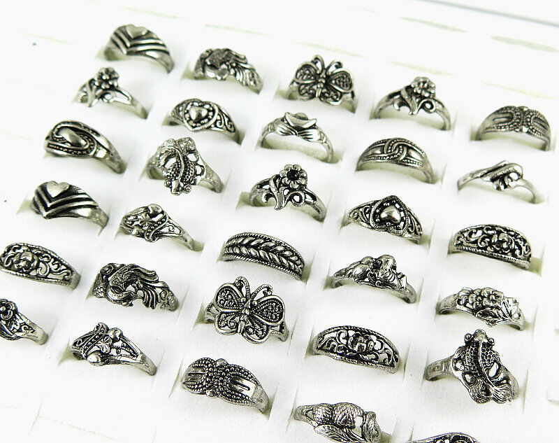 Hot 50pcs Wholesale Bulk Jewelry Lots Mixed Style Tibet Silver Vintage Ring Free
