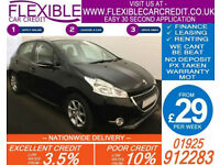 2014 PEUGEOT 208 1.2 VTI ACTIVE GOOD / BAD CREDIT CAR FINANCE FROM 29 P/WK