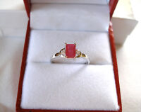 .80 Ct. Ruby Solitaire & Diamond  10k White Gold Ring
