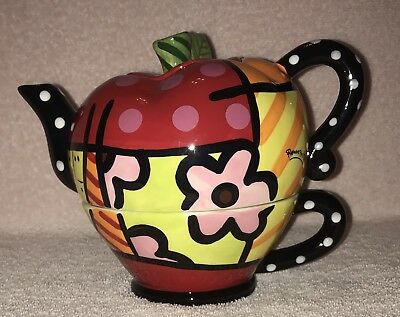 Romero Britto Apple Pop Art Tea For One Ceramic Teapot 2008 Retired