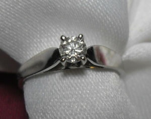 """14kt white gold .25ct  """"Solitaire""""  Diamond Engagement Ring"""