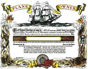 Plank Owner Certificate Blank Mint Condition US Naval Institute | eBay