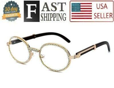 Hip Hop Quavo Migos DIAMOND Rappers Glasses Gold Oval Frame Clear Lens (Hip Glasses)
