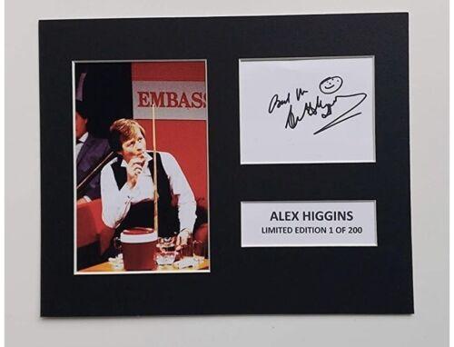 Limited Edition Alex Higgins Signed Mount Snooker TV Film  Preprint
