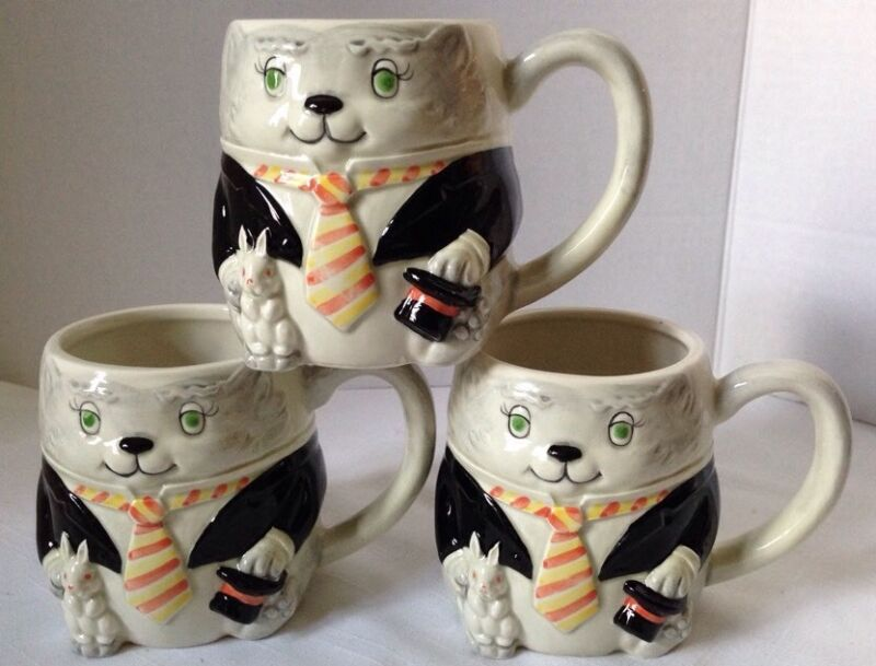 OTAGIRI Mary Ann Baker Japan Magician Cat Mug Cup Set Of 3