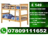 TARA WOODEN BUNK BED WITH MATTRESS