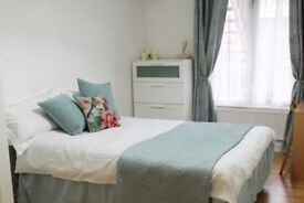 Quaint room with chest of drawers in shared flat, Kensington