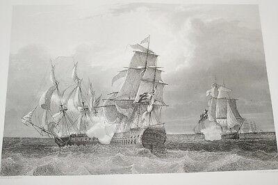 NAPOLEON FREGATE LA CANONNIERE TREMENDOUS GRAVURE 1838 VERSAILLES R1106 IN FOLIO