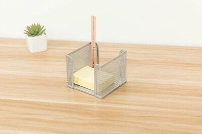 Pro Space 2pack Memo Pad Holder Desktop Business Card Cube Organizer Box Silver