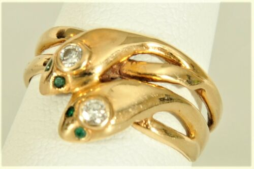 14k Gold Snake Snakes Emerald Eyes Diamond Crown Victorian ? Woman Ring Handmade