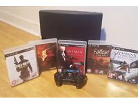 PS3 40GB SLIM WITH 5 GAMES + CONTROLLER
