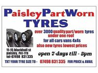 OPEN SEPT SUN & MON 5PM 3000 P/WORNTYRES FOR ALL CARS VANS 4x4s ***TEXT SIZE FOR PRICE & AVAIL **