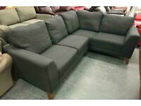 Grey slate fabric corner sofa