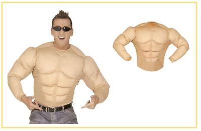 Super Muskel Shirt Muskelshirt Kostüm Bodybuilder Soldat BEIGE Superheld , - Superhelden Kostüm Bodys