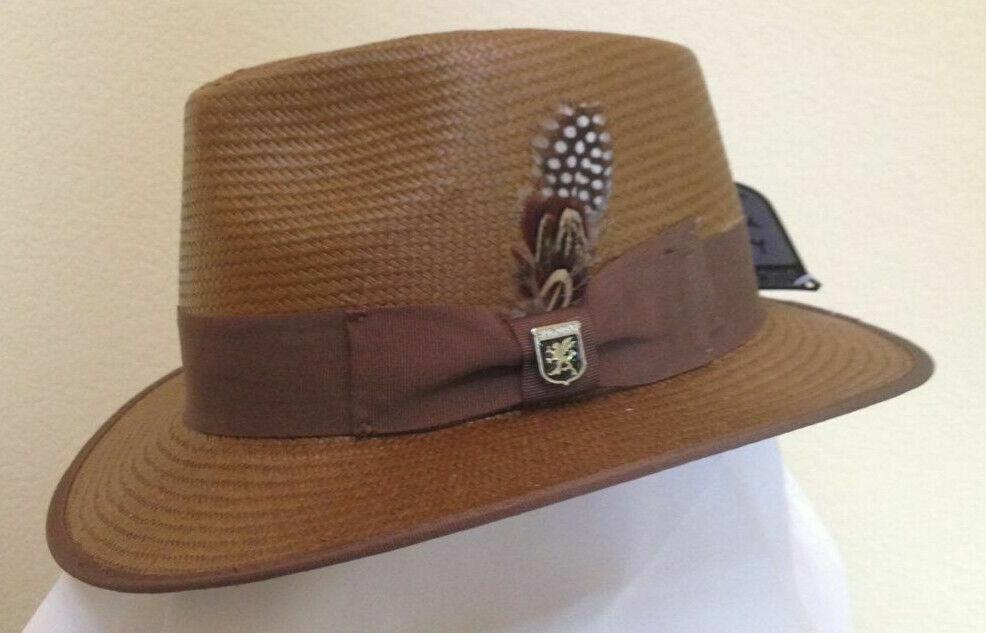 mens brown fedora hat new panama style