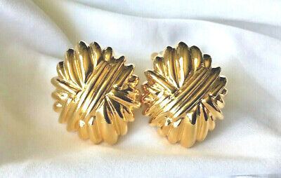 VINTAGE Gold Tone Signed Paolo Clip On Earrings DESIGNER PAOLO GUCCI