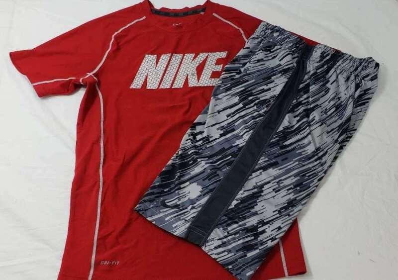 Nike Set Size Large L Shirt Shorts Boys Red Gray Black DriFit Swoosh Athletic