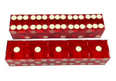 CASINO DICE - NEW CASINO STYLE 2 STICKS PRECISION CUT 10 DICE WRAPPED FREE S/H * - Casino Style