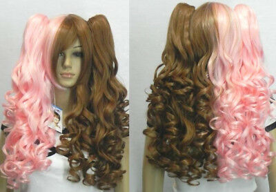 Brown Mix Pink Clip on 2 Ponytails Pigtails Curly Cosplay Women's Hair Wig + Cap (Pink Pigtail Wig)