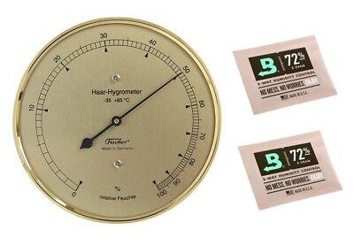 Fischer Haar-Hygrometer messingfarben Made in Germany und 2 Stk Calibration Kit