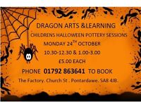 HALLOWEEN/AUTUMN CHILDRENS POTTERY SESSION . DURING OCTOBER HALF TERM @ DRAGON ARTS