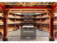 Hamlet - Shakespeare's Globe- 2 tickets excellent seats - Sat 25/08/2018 7:30 PM