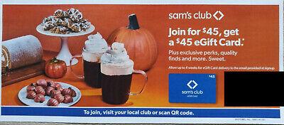 Sam s Club Coupon GET 45 Egift Gift Card By Purchasing 45 New Membership Sams - $1.95