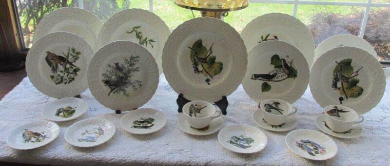 21 PCS A MEAKIN ENGLAND AUDUBON BIRDS OF AMERICA DINNER SET PLATES C&S LUNCHEON