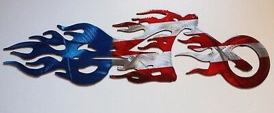 Red, White & Blue Flame Motorcycle Metal Wall Art