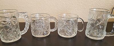 SET OF 4 MCDONALDS 1995 BATMAN FOREVER GLASSES MUGS BATMAN ROBIN RIDDLER 2 FACE