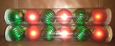Red and Green Christmas Decorative 2 .25   Inch Globes - Set of 12