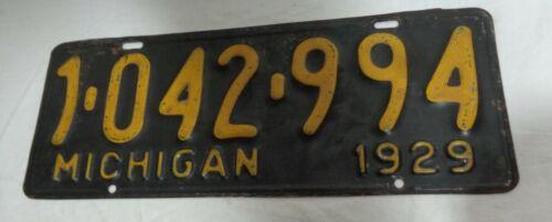 1929 Michigan Automobile License Plate  Nice Original Condition