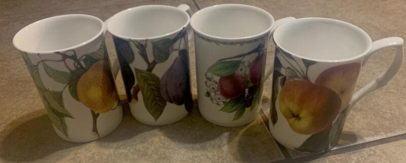 Gracie Bone China Mug Fruit  Plum ,Peach Red Apple & Cranberry Porcelain EUC