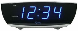 75903 Equity by La Crosse AC Powered 0.9 Blue LED Display Digital Alarm Clock