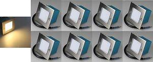8er Set LED-Einbauleuchte Edelstahl Wandleuchte Treppenlicht warmweiß IP54 20578