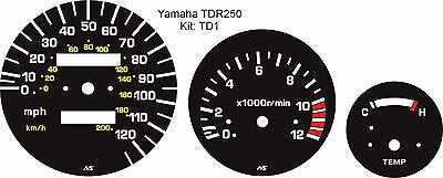 <em>YAMAHA</em> TDR 250 TDR250 SPEEDO TACHO REV COUNTER TEMP GAUGE 3 PIECE OVER