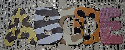 ANIMAL PRINT CARD x5 Alphabets x130 Letters Die Cuts Personalise Names Scrapbook