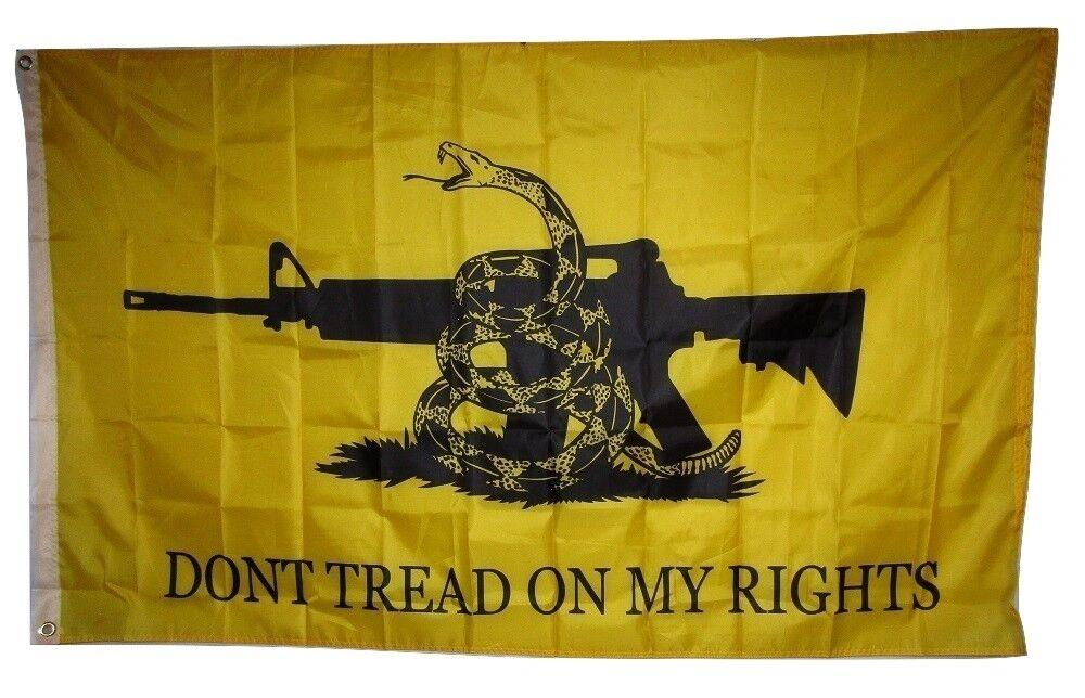 3x5 Gadsden Don't Tread On My Rights NRA M4 Rifle Machine Gu
