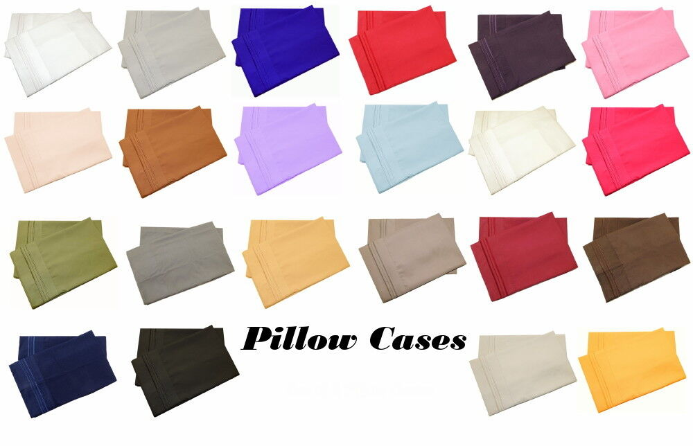 Set of 2 Pillow Cases Super Soft Hypoallergenic 1800 Premier