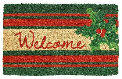 """DOOR MATS - HOLLY BERRY COIR WELCOME MAT - 18"""" X 30"""" - CHRISTMAS DOORMAT"""