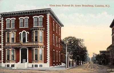 Camden New Jersey Federal Street Down Broadway Antique Postcard K10345