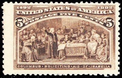 234, Mint VF NH 5¢ Columbian Stamp BIG MARGINS Cat $160.00 - Stuart Katz