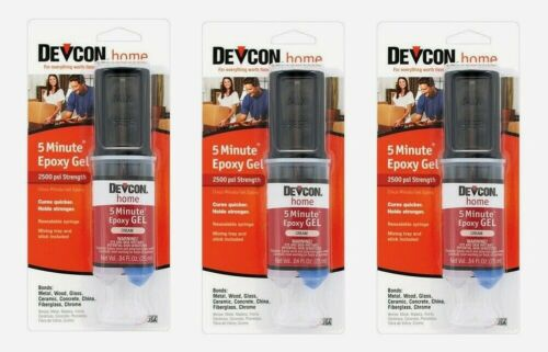 3~ Devcon 5 Minute EPOXY GEL Cream 0.84oz Cures Quick 2500 psi Hold Strong 21045