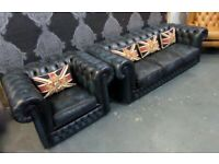 Stunning Chesterfield 4 Seater Sofa & Matching Club Chair in Blue Leather - UK Delivery