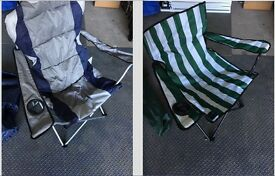 Folding Camp Chairs with Carry Cases - Pair - One Adult - One Small Adult/Teen/Child - Used Once